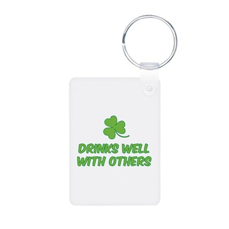 Drinks well with others Aluminum Photo Keychain