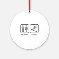Problem Solved Snowboarding Ornament (Round)