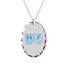 Problem Solved Surfing Necklace Oval Charm