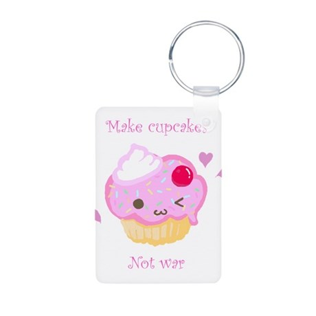 """Make Cupcakes, Not War"" Aluminum Photo Keychain"