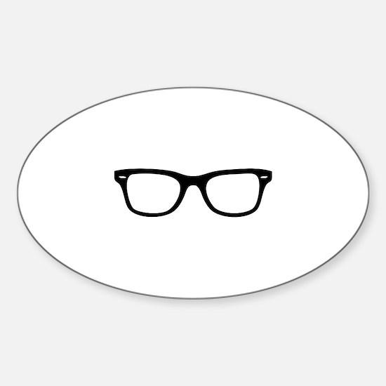 Geek Glasses Sticker (Oval)