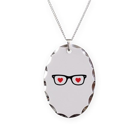 Love glasses Necklace Oval Charm
