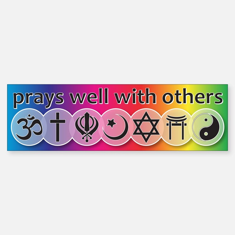 Prays Well With Others Sticker (Bumper)