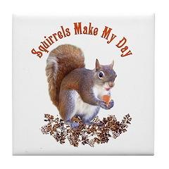 Squirrel Day Tile Coaster