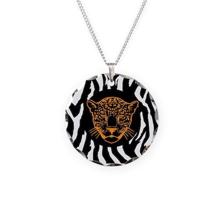 Gold Cheetah Necklace Circle Charm