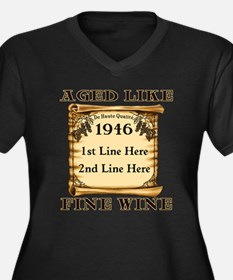 Fine Wine 1946 Women's Plus Size V-Neck Dark T-Shi