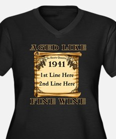 Fine Wine 1941 Women's Plus Size V-Neck Dark T-Shi