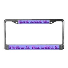 God Said It License Plate Frame Purple