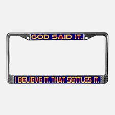 God Said It License Plate Frame Dark Blu