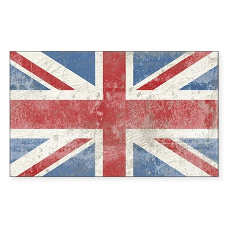 Vintage Union Jack Sticker (Rectangle)