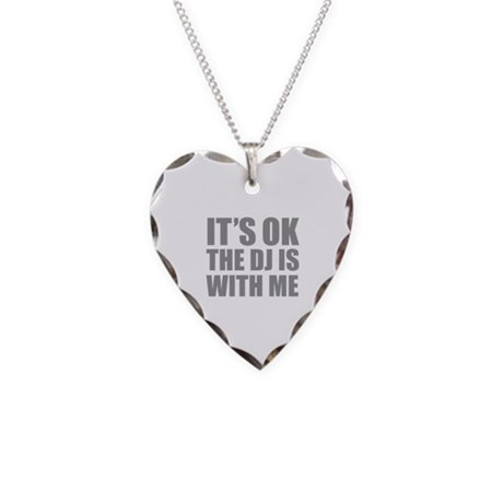 The dj is with me Necklace Heart Charm