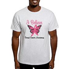 Believe Breast Cancer Butterf T-Shirt