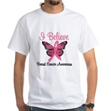 Believe Breast Cancer Butterf Shirt