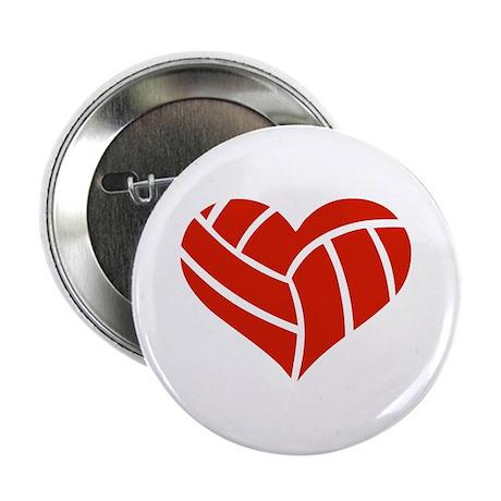 """Volleyball heart 2.25"""" Button"""