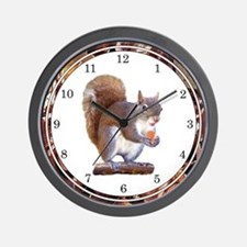 Squirrel on Log Wall Clock