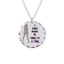 American Soldier Necklace Circle Charm
