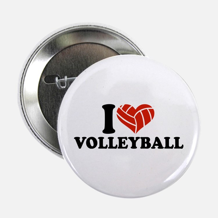 """I love Volleyball 2.25"""" Button (100 pack)"""