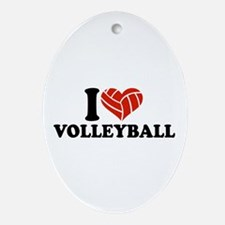 I love Volleyball Ornament (Oval)