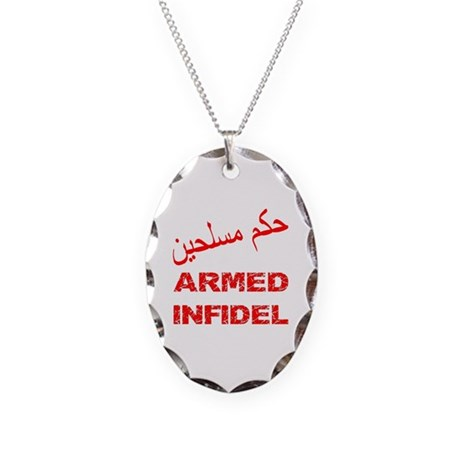 Arabic Armed Infidel Necklace Oval Charm