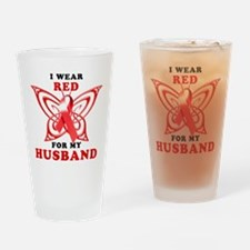 I Wear Red for my Husband Drinking Glass