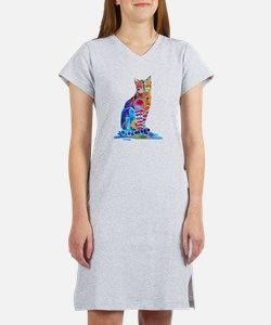 Whimsical Elegant Cat Women's Nightshirt