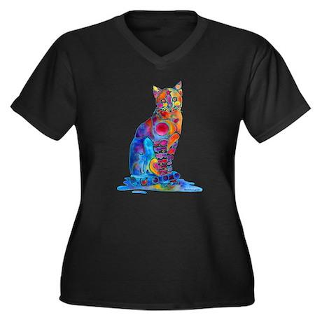 Whimsical Elegant Cat Women's Plus Size V-Neck Dar