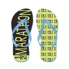 Green and Black 13.1 Half Marathon Flip Flops