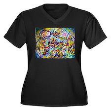 Cute Teen girls Women's Plus Size V-Neck Dark T-Shirt