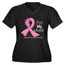 Aunt Breast Cancer Ribbon Women's Plus Size V-Neck