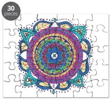 Mediallion-Teal and Raspberry Puzzle
