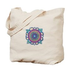 Mediallion-Teal and Raspberry Tote Bag