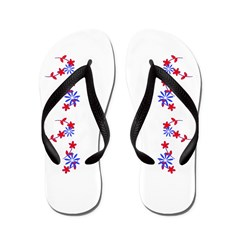 Red & Blue Floral Jig Beach Shoes Flip Flops