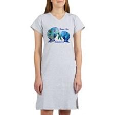 Two Save The Manatees in Blue Women's Nightshirt