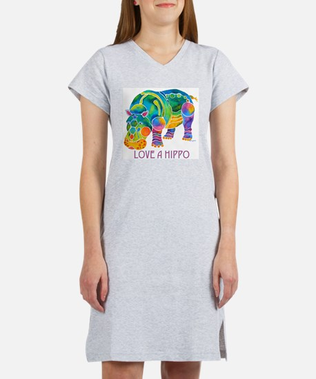 Colorful LOVE A HIPPO Women's Nightshirt