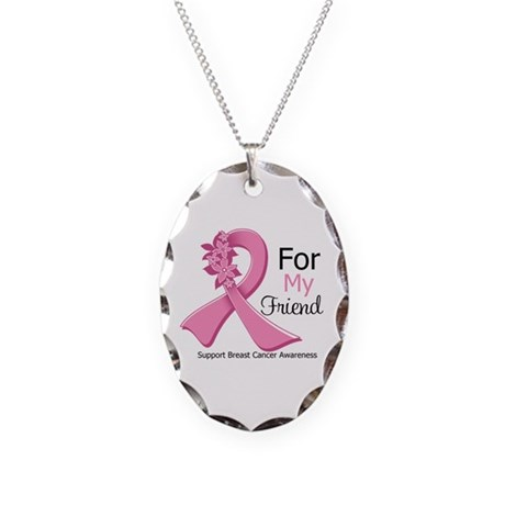Friend Breast Cancer Ribbon Necklace Oval Charm