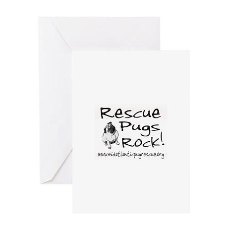 Pug Rescue Rocks Greeting Card