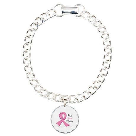 Mom Breast Cancer Ribbon Charm Bracelet, One Charm