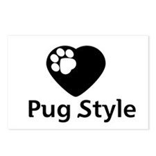Pug Style Postcards (Package of 8)