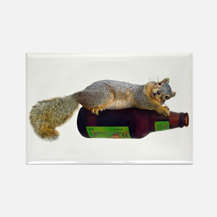 Squirrel Empty Bottle Rectangle Magnet
