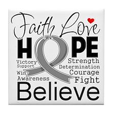 Faith Hope Brain Cancer Tile Coaster