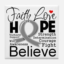 Faith Hope Brain Cancer Tile Coaster