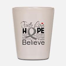 Faith Hope Brain Cancer Shot Glass