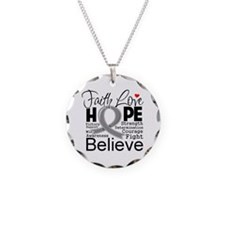 Faith Hope Brain Cancer Necklace Circle Charm