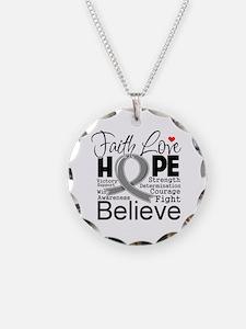 Faith Hope Brain Cancer Necklace Circle Charm