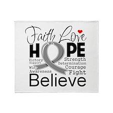Faith Hope Brain Cancer Throw Blanket
