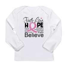 Faith Hope Breast Cancer Long Sleeve Infant T-Shir