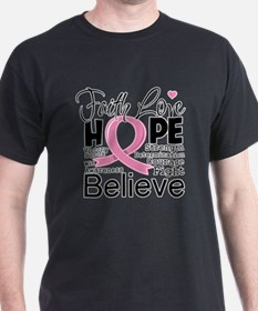 Faith Hope Breast Cancer T-Shirt