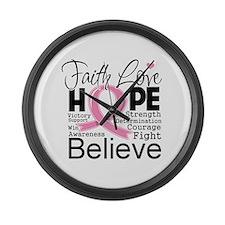 Faith Hope Breast Cancer Large Wall Clock