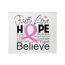 Faith Hope Breast Cancer Throw Blanket