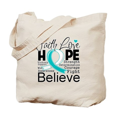 Faith Hope Cervical Cancer Tote Bag